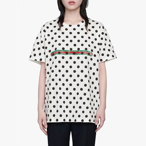 20ss Nero punti rossi Green Belt Printed Tee Donne Classic Street casuale Summer Vacation T-shirt manica corta esterna traspirante HFHLTX209
