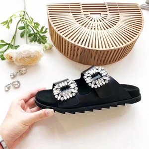 Brand Design Women cow leather sandals,summer Fashion Cool Crystal beach Slippers flat TPU Sole Gladiator Genuine Leather Sandals,35-40