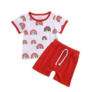 Baby Boy Clothing Set 2020 Summer Shorts Suit Rainbow Printed O-Neck Short Sleeve Sets Summer Red Clothing Set For Baby 0-3Y