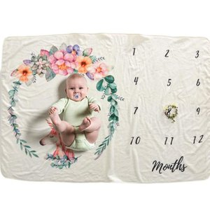 102*152 cm Newborn Baby Milestone Blankets Photography Background Props Baby Photo Backdrops Infant Flower Number Print Blanket BC BH0746