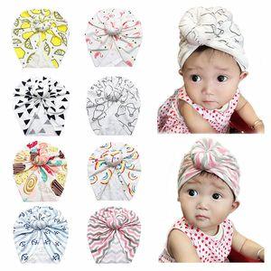 INS Baby Infant Turban Hats Doughnut Flamingo Print Kids Headband Cartoon Bowknot Beanie Newborn Turban Hat Children Skull Caps 11 Styles