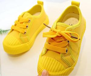 Мальчики Холст обувь кроссовки Девушки теннис Обувь Шнуровка детей Обувь Малыша Яркий желтый Chaussure Zapato Повседневный SandQ младенца Новый