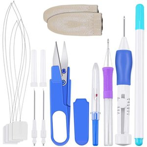 Embroidery Pen Kit Embroidery Stitching Punch Tool with Storage Box for DIY Sewing Cross Stitching