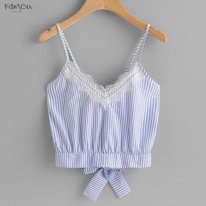 Tops V Neck Hoge Kwaliteit Casual Kant Patchwork Mouwloze Crop Top Vest Tank T Shirt Zomer Tops Voor Vrouwen Ap27