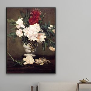 French Painter Edouard Manet Put A Picture of Vase Peonies on Small Pedestal on His Oil Painting Posters Draw Core