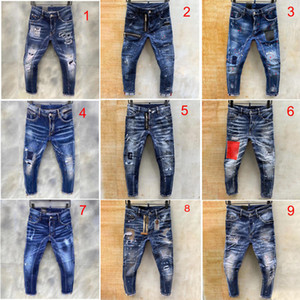 dsquared2 jeans Herren-Jeans blau Loch riss Hose Art und Weise Italien Stil dünne Denimhosen Biker Motorrad Rock Revival jean 9 Stil