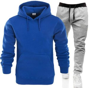 Mens Tracksuit Fashion Designer Hoodies+pants 2 Piece Sets Solid Color Outfit Suits 2020 High Quality Tracksuits for Mens