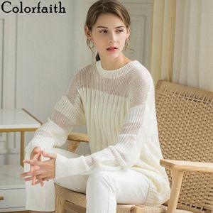 Colorfaith femmes Pull Robes Pull 2019 Automne Hiver coréenne style patchwork mode transparent élégant Casual SW412 PeJ4 #