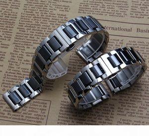 New Black Ceramic Straight end Watchband common watch accessories strap bracelets for gear S2 diamond watchbands men women 16 18 20mm 22mm