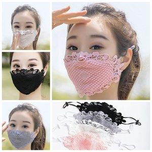 Хлопок Black White Lace Face Mask Анти Ткань Dust лицо Женщина Маска Мода Моющейся ушная Регулируемые Многоразовые маски CCA12369 120pcs