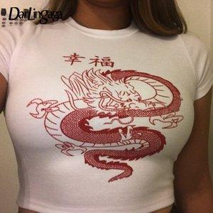camicia Darlingaga stile cinese Drago Stampato White T donne di modo di estate Bassiera Tee manica corta T-shirt Harajuku Tee Shirts