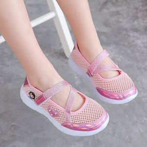 Girls' net shoes 2020 Korean style sports for pupils girls' comfortable mesh single mesh hollow princess Sandals and sandals shoes