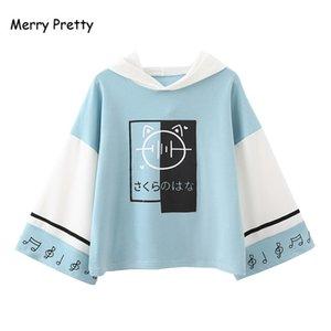 Merry Pretty Women Harajuku Print Hooded Sweatshirts 2020 Long Sleeve Patchwork Hoodies For Femme Casual Loose Cute Pullovers