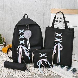 Popular Mochila Canvas Feminino Bow Ribbon Campus Student Backpack Mãe Casual Crianças pacote de quatro peças