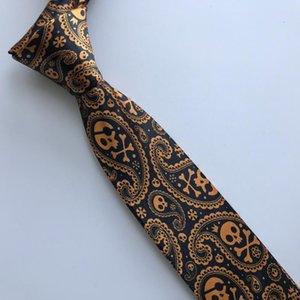 Designer Persönlichkeit Krawatte Herrenmode Printed Krawatten für Halloween-Party-Schwarz mit Golden Orange Schädel-Muster