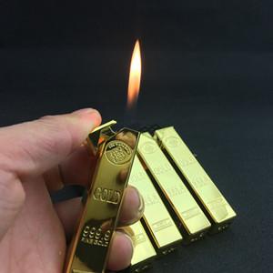 Bullion Form leichter kreative Metall Gold Bar nachfüllbar Butangas Feuerzeug-Flamme Zigarettenanzünder