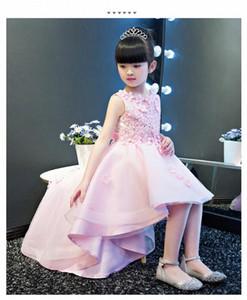 KICCOLY Элегантный Продольный девушки розовый кружевном платье Аппликации Первое причастие платье Baby Girl Формальные Свадебные платья цветка платье dnNt #