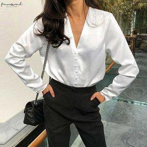 Vintage White Shirt Women Silk Blouses Long Sleeve V Neck Female Stain Plus Size Summer Shirt 2020 Bloggers Style