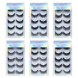 5 Pairs of False Mink False Eyelashes 3d Natural Thick Volume for Beauty Makeup Extension False Eyelashes Strip Lashes Laser Box Packaging