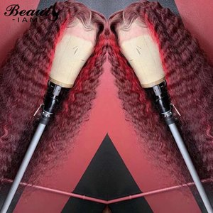 Ombre Honey Blonde Deep Wave Brown Lace Front Human Hair Wigs Curly Bleached Knot Dark Red Virgin Wig Pre Plucked With Baby Hair