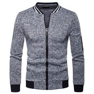 Escudo para hombre con paneles de otoño chaqueta O-Cuello de manga larga Slim Fit masculino cremallera chaqueta de la chaqueta