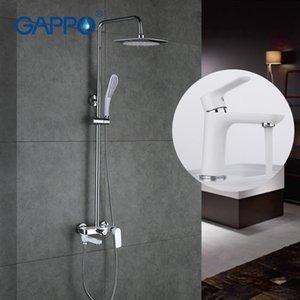 GAPPO Chrome Shower Tap Wall Bracket Hand Sprayer Bathroom Shower Set Match White Painted Mirror Basin Faucet G2448 + G1048