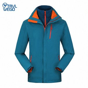 TRVLWEGO Inverno Outdoor Caminhadas Jacket Ski Men Windproof Montanhismo Waterproof Escalada Camping 2 em 1 velo Brasão manter aquecido CINj #