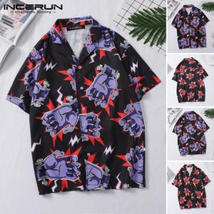Erkek Moda Kısa Kollu Prtifik Gömlek Hip Hop Hawaiian Meslek Erkek Yaz Baskılı Yaka Rahat Streetwear