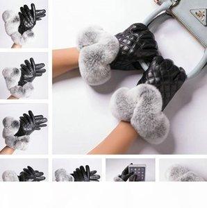 Inverno Donne Guanti Designer donne Signora di lusso caldo Touchscreen guanto di cuoio genuina del coniglio di Rex pelliccia di pecora Guanti moda guanti
