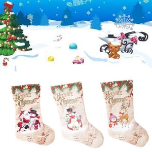 Christmas Sock Large Christmas Stocking New Year Gift Candy Bag Candy Burlap Bags Gift Holder Cloth Bag