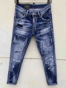2020 Fashion Mens Stretchy Ripped Skinny Biker Jeans Destroyed Taped Slim Fit Denim Pant Vintage Hole Pencil Trousers