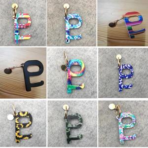 13colors portáteis Keychain No-Touch Elevador botão Ferramentas Contactless EDC Door Opener Key Ferramenta girassol Leopardo Keychain favor de partido