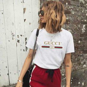 Женская футболка с коротким рукавом лето дамы лук Черный Белый тенниску хлопка вершины O шеи сыпучие GUCCI женщин летние топы