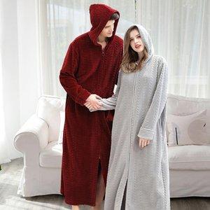 New Robe Flanell Bademantel Lovers roten Roben Männer Bademantel Frauen-festes Tuch Lange Robe Nachtwäsche Pullover