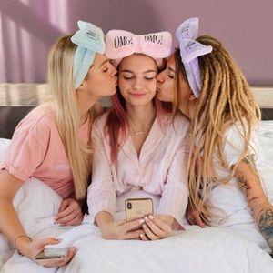 Damla Nakliye Makyaj Kafa Şeker Renk Yıkama Yüz Turban OMG Bow Hairband Kadınlar Kafa Wrap Soft Coral Polar Makyaj Araçları