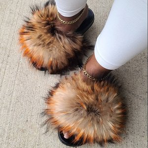Summer Fluffy Fur Slippers Women Shoes Raccoon Fur Slides Real Fox Fur Flip Flop Flat Outdoor Slippers Casual Female Plush Shoes Y200624