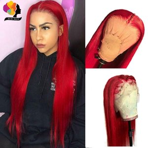 Red Burgundy 13*4 brazilian full Lace Front Wig For Women synthetic hair Wig Pre Plucked With Baby Hair can be braided