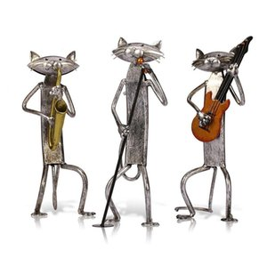 Metal Figurine Pop A Playing Guitar Saxophone Singing Cat Figurine Furnishing Articles Craft Gift for Home Decoration
