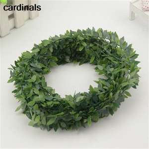 fio de ferro 7m baratos Artificial Verde Flor Nylon folhas de plástico Rattan DIY coroa Acessório Decoração do casamento para Garland