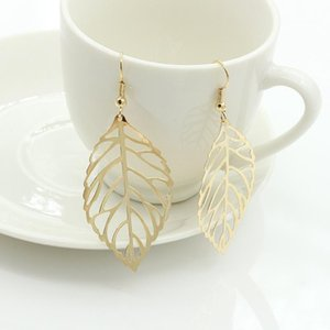 Pendientes Mujer Hot Fashion Wholesale Jewelry Hollow Metal Leaves Dangling Long Statement Drop Earrings