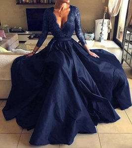 3 4 Long Sleeves Satin Bridesmaid Dresses with Lace Appliques 2020 Navy Blue Black Dark Red Long Formal Evening Gowns for Party