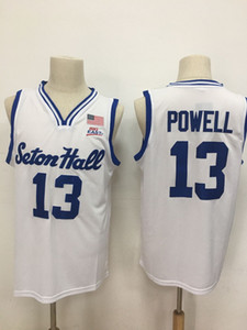 Hommes NCAA Seton Hall College Pirates 13 Myles Powell Basketball Bleu Blanc Maillots de broderie Stitched Patches