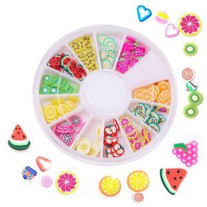 Estilos Mixed Fruit Slices 3D minúsculo Etiqueta Polymer Clay DIY Designs Fatia Nail Art Decorações Mulheres Dicas Nail Art Fruit Slice