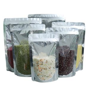 100 шт. Doypack Clear Алюминиевая фольга Zip Lock Package Bags Silver Mylar Plastific Высушенные цветочные гайки Хранение молнии