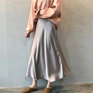 Юбки Элегантная атласная женщина Юбка с высокой талией Макси длинная труба моды сплошной цвет женские русалки