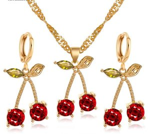 2020 New Crystal Cherry Jewelry Set for Bridal Wedding Jewelry Golden Plated Red Cherry Pendant Earrings Necklace Sets