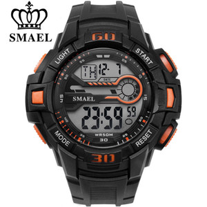 SMAEL Men's Sport Casual Watchs LED Display Luminous Stopwatch Time Water Resistant with Automatic Alarm Men's Digital Wrist Watches