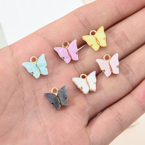 10Pcs lot Trendy Alloy Acrylic Butterfly Pendant Fashion Creative DIY Handmade Animal Charms Jewelry Accessories Necklace Earrings Pendant