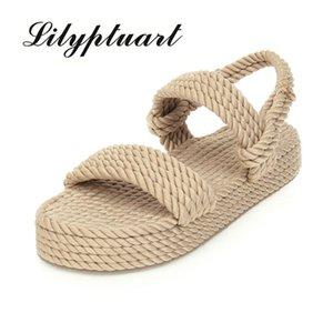 Обувь Женские сандалии Lilyptuart 2020 Большой размер 43 на продажу верхнего качества Гладиатор пеньки Flat Скольжение на соломе летних 's сандалии