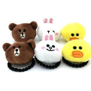 Korean style children's cartoon plush doll brown bear hair rubber band cute head accessory hair rope rubber band